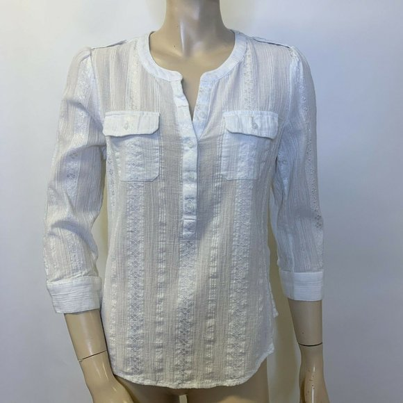 Lucky Brand Woman Top White Embroidered S